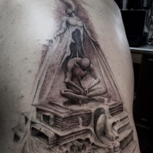 WIP Black and Skin Tattoo by S V Mitchell