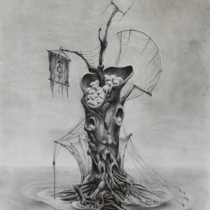 THE TREE II 70X50cm Graphite pencil on paper © S V Mitchell