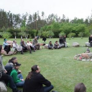 Poetry reading in the stone circle at Bardo gallery. © S V Mitchell